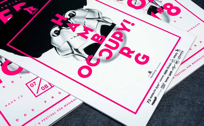 Programmheft von Rockcity Hamburg zweifarbig mit der Leuchtfarbe Pink