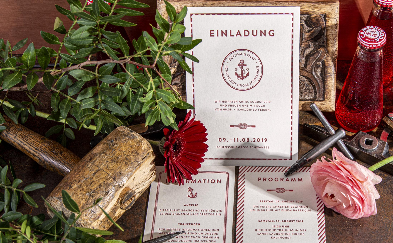 Traumhafte Hochzeitskarten-Kollektion, gefertigt im Letterpress mit visuellen und haptischen Sinneseindrücken.