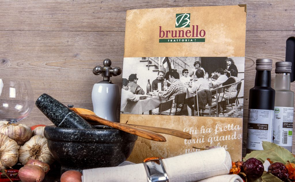 Auffallende Speisekarte von Brunello Trattoria Hamburg