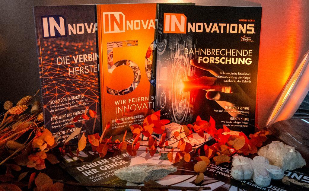 Klebebindungen für das Innovationsmagazin auf einem hochwertigen glänzenden Bilderdruckpapier.