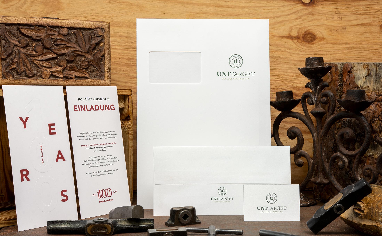 Einladungskarten Kitchenaid und die Geschäftsausstattung von UNITARGET, gefertigt im Letterpress.