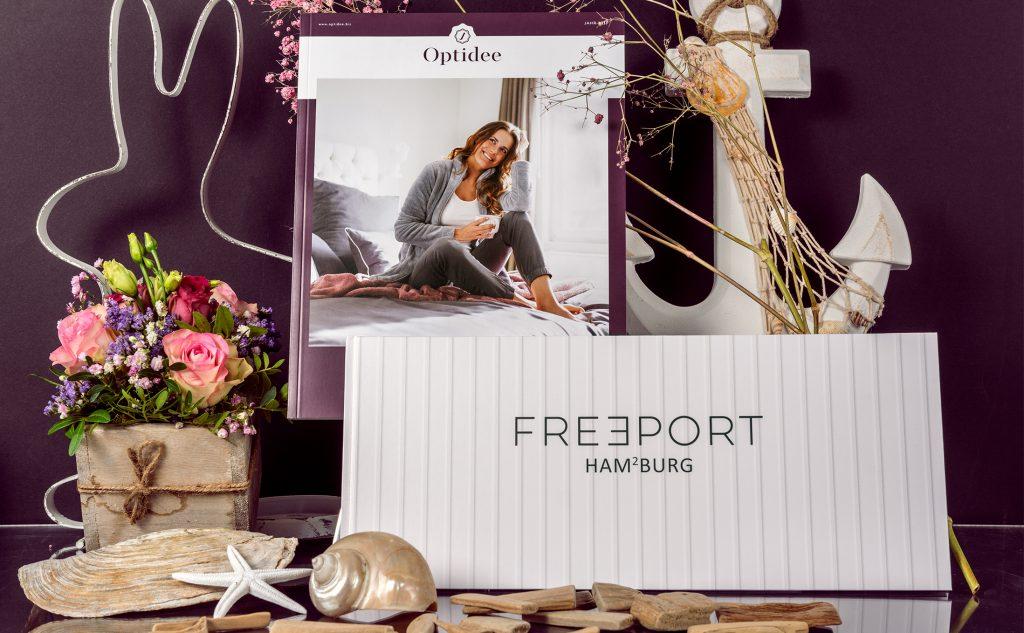 Klebebindung für Optidee und fadengeheftetes Buch für Freeport Hamburg.