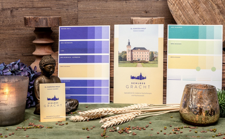 Imagefolder Schloss Gracht mit einem Andruck im Offsetdruck für Werbeagenturen